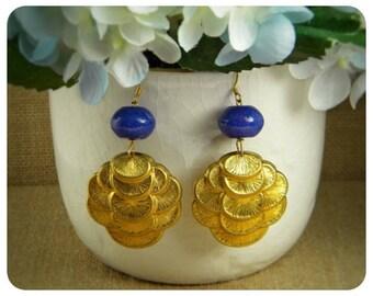 Navy Jade, Brass Stamp Earrings
