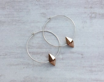 Sterling Silver Hoop Earrings with Rose Gold Swarovski Crystal/Spike/Silver Hoop/Hoop Earring/Modern/Edgy/Minimal/Everyday/Gift/Bridal/UK