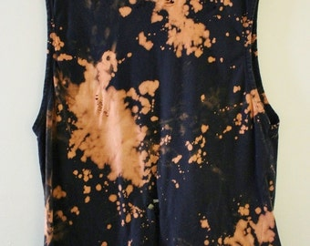 Splatter Bleached and Shredded Black Muscle Tee