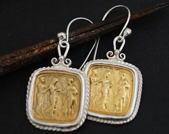 Hook Coin Earrings Handmade Sterling Silver Designer Jewelry
