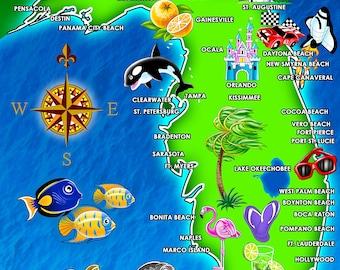 Hot Florida Map Beach Towel