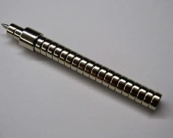 Magnetic Pen 12, magnet pen, silver pen, industrial, steampunk pen, vip pen, boss pen, chief pen, ceo pen, manager pen, gift pen, unique pen