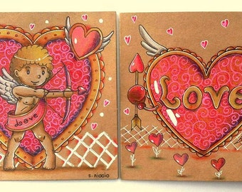Art cards Valentine's day-2 series cards Valentine's day, Cupid drawn and colored by hand theme