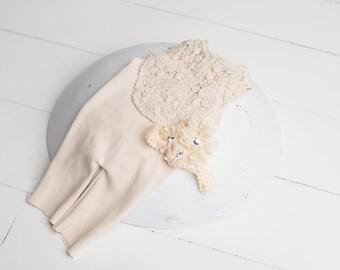 Cream newborn romper, Newborn lace romper and bonnet, Cream newborn bonnet, Newborn photo prop outfit