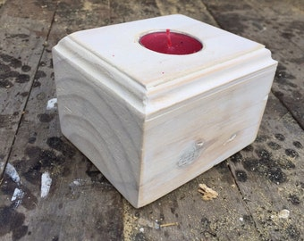 Recycled  pallet wood tealight holder