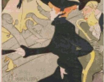 Toulouse-Lautrec Cross Stitch Pattern: Divan Japonais