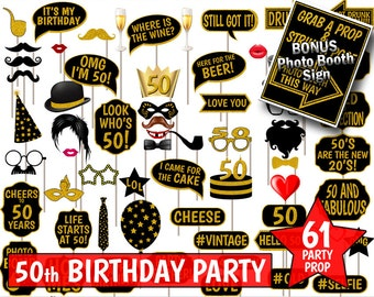 50th Birthday Party Printable Photo Booth Props. Black and Gold Glitter. Photobooth Selfies, Speech, Glasses, Hats, Ties, Lips, Mustaches.