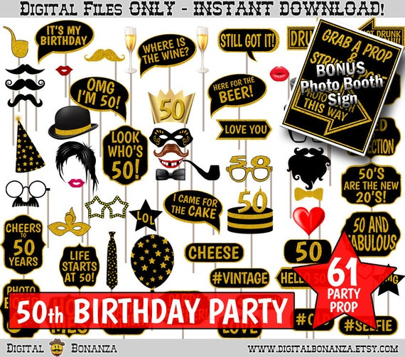 50th Birthday Party Printable Photo Booth Props. Black And