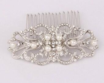 Art Deco Bridal Hair Comb, Filigree Wedding Hair Comb, Vintage Wedding Hair Accessories, Pearl And Rhinestone Hair Piece, Bridal, Jewelry