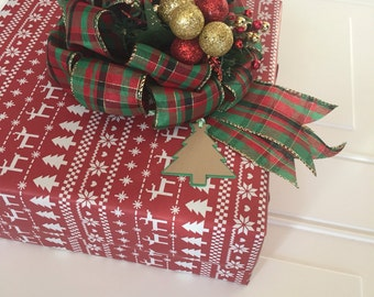 Christmas Gift Bow Christmas Plaid Gift Basket Bow Bows for Baskets and Gift Bags Christmas Present Ribbon Gift Tag Holiday Gift Wrap