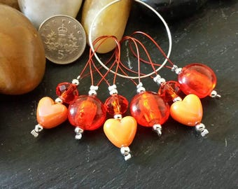 6 Stitch markers for knitting - Beaded glass/acrylic loop style - Orange - For needles up to 10mm