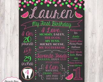 First Birthday Pink and Green Watermelon Chalkboard like Poster - Printable/Digital File {Any Age or Colors}