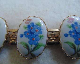 vintage Forget me Not Flowers chain link gold tone bracelet