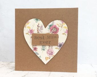 Best Mum Ever - Handstamped Recycled Kraft Mother's Day Card - Floral - Hearts - Mum - Mom - Mother's Day - Mothering Sunday - Birthday Card
