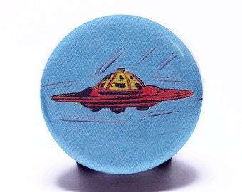 """UFO Alien Pin Retro SciFi Comic Book Art (1.25"""" small pin back button badge) Series 1: #12"""