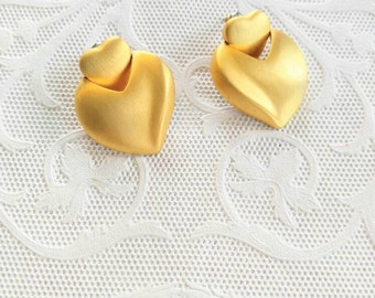 FROSTED Gold Vintage Signed JS Pierced Heart Earrings-Dangle-All Orders Only .99c Shipping!!