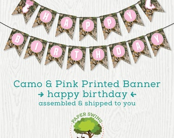 Printed Paper Happy Birthday Pink Camo Banner