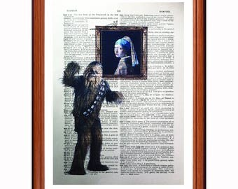 Chewbacca vs Johannes Vermeer  - dictionary art print home decor present gift - Girl with the pearl Earring