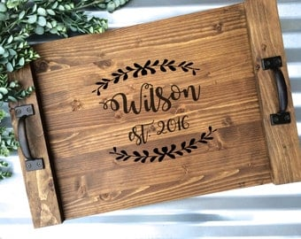 Rustic Personalized Serving Tray, Custom Wood Serving Tray, Rustic Wedding Gift, Anniversary Gift