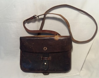 Vintage Swiss Army Dark Brown Leather Bag -  Shoulder Bag