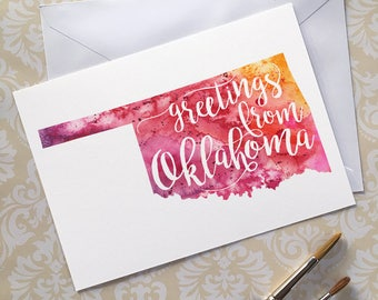 Oklahoma Watercolor Map Greeting Card, Greetings from Oklahoma Hand Lettered Text, Gift or Postcard, Giclée Print, Choose from 5 Colors