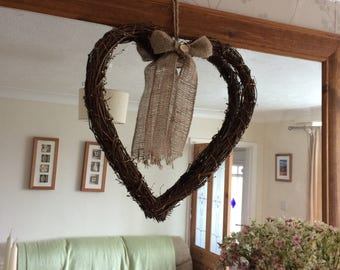 Rustic Country Style Large Heart Grapevine Wreath Home or Wedding Decor.