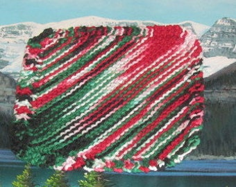 Hand knit dish cloth 7 by 7 KDC 015