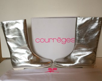 Courreges boots leather silver