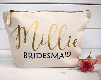 Bridesmaid Gift - Personalised Make Up Bag Or Wash Bag - Unique Personalised Gift for Bridal Party - Bride, Maid of Honour, Flower Girl