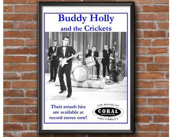 Buddy Holly and the Crickets Poster-Coral Records-Rock & Roll-Fender Stratocaster