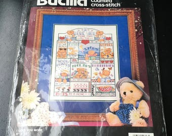 "Plaid Bucilla Counted Cross Stitch Kit 40627  I Love You More Sampler Teddy Bear Flowers Butterfly Stars   Linda Gillum 9 "" x 12 "" Sealed"