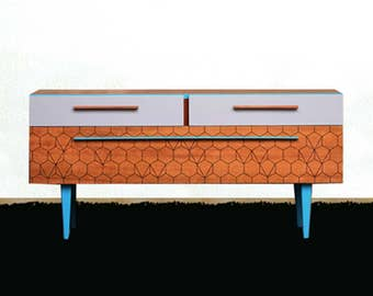 Enfilade redesigned teak 50s blue and gray.