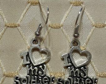 I Love My Soldier Earrings Military Pride Tibetan Silver Dangle Earrings Handmade