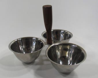 Stainless Steel Condiment Caddy, Wood Handle Condiment Server, Vintage Stainless Steel, Schmid International Cook Ware