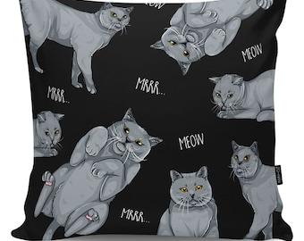 Decorative pillow British Cat Lover black