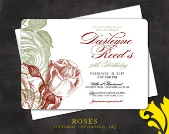ROSES . birthday invitation