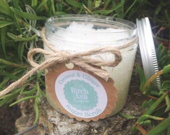 Coconut & Ginger sugar scrub, body scrub, handmade skincare, beauty product, exfoliate skin, moisturiser
