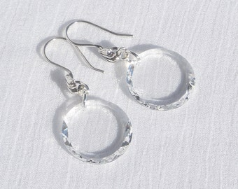 Swarovski crystal disc and sterling silver earrings