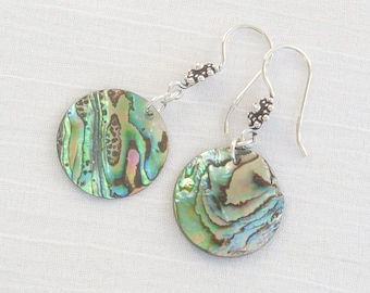 Natural paua shell and sterling silver earrings