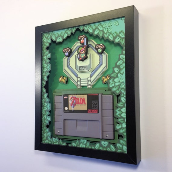 Zelda: A Link to the Past Cartridge Holder Shadow Box for SNES with optional Replica Cart