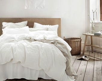 white duvet cover, white comforter, white linen duvet cover, linen duvet cover queen, King linen duvet, Perfection!!