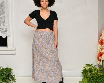 90s vintage colorful floral maxi skirt