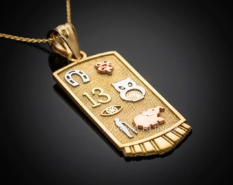 Lucky symbol jewelry etsy gold lucky charm good luck symbols talisman pendant necklace 10k 14k mozeypictures Gallery