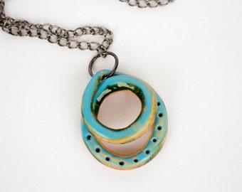 Ceramic necklace, ceramic pendant,  ceramics and pottery, ceramic jewelry