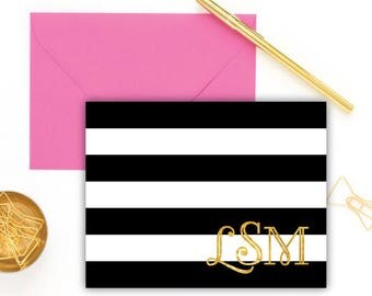 10 Black & White Personalized Notecards   Gold Foil Notecards   Monogram Notecards   Custom Note Cards   Personalized Stationery