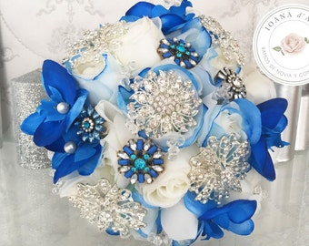 Bridal Brooch Bouquet, Brooch and Roses Bouquet, Roses and Orchids brooch bouquet, White and BLUE Bridal Brooch Bouquet