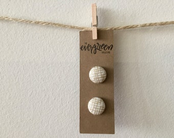 Gold Crosshatch Button Earrings