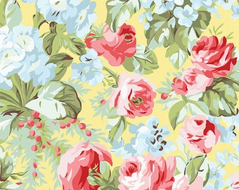 Simply Chic - Rose Garden on Butter - Sold by the Half Yard