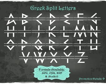 Greek Split Letters in .SVG .EPS .DXF & .Studio3 formats Craft Cut Die Cutters Digital Vector Files Instant Download