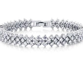 Bridal Bracelet Wedding Bracelet Crystal Bracelet CZ Bracelet Wedding Jewelry Crystal Jewelry Statement Jewelry Statement Bracelet